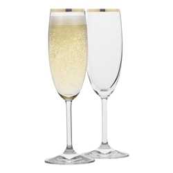Rona Selene Champagne Glass Gold Rim, 175ml Set of 4