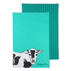 FUNNY FARM HAPPY COW TEATOWELS